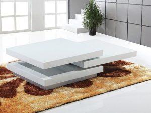 Table basse carré blanc laqué