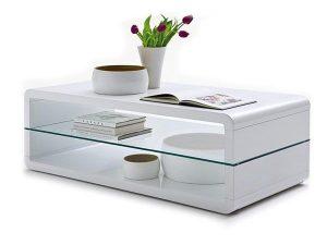 table basse Lewis coloris blanc laqué