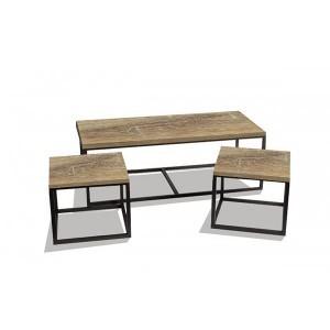 Tables gigognes décor chêne vieilli (set de 3 tables)