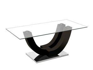 Table basse noir laqué avec un plateau en verre securit