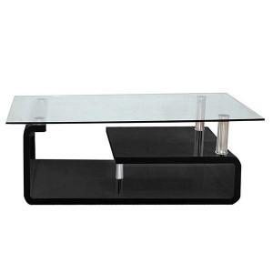 Table de salon moderne noir laqué avec tablette en verre et espaces de rangement