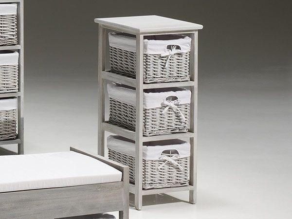meubles de rangement 3 compartiments structure en bois gris