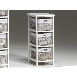 Petit meuble de rangement en rotin et bois exotique blanc