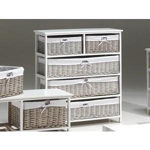 Meuble de rangements en rotin et bois exotique 3 grands tiroirs et 2 petits tiroirs