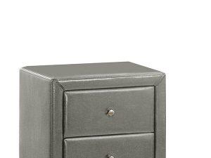 Table de chevet pour la chambre avec 2 tiroirs PU gris
