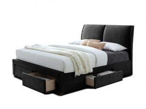 Cadre et tête de lit type boxspring de 140 ou 160x200 cm PU Noir