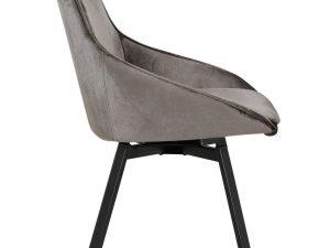 Chaise avec assise pivotante 360° velours brun