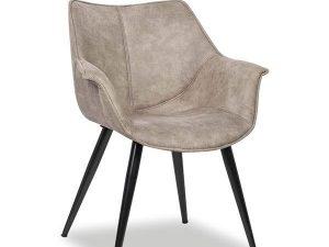 Chaise avec accoudoirs microfibre gris