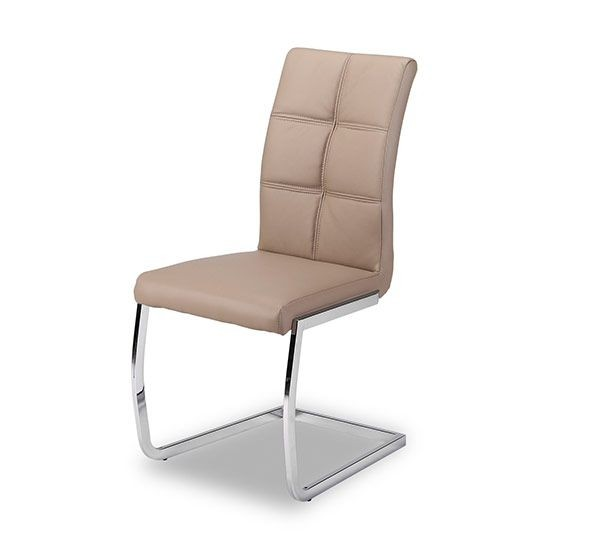 Chaise avec pied en suspension pu cappuccino