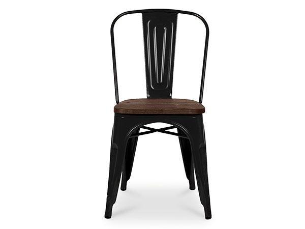 Chaise au style industriel couleurs métal noir et orme anthique