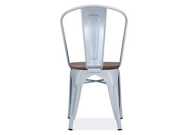 Chaise au style industriel couleurs métal gris clair et orme antique