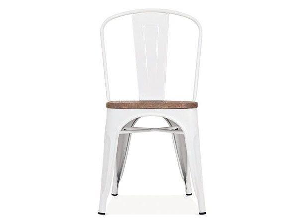 Chaise au style industriel couleurs métal blanc et orme antique