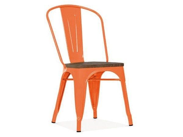 Chaise au style industriel couleurs métal orange et orme antique