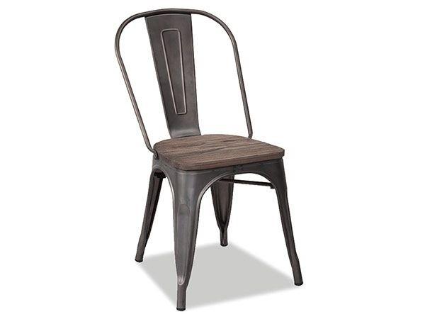 Chaise au style industriel couleurs métal shogun et orme antique