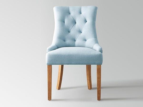 chaise en tissu bleu et pieds bois antique brossé