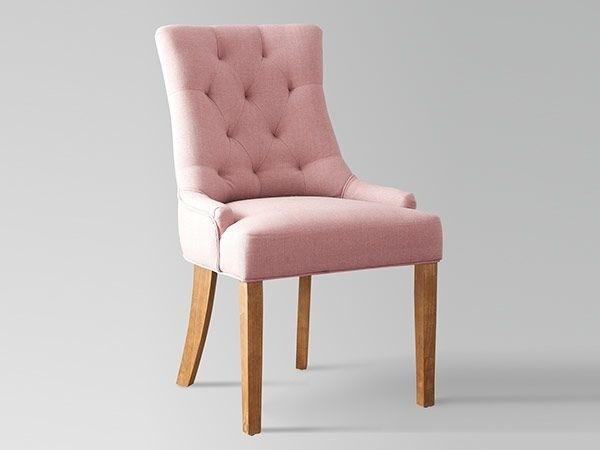 Chaise tissu rose et pieds en bois