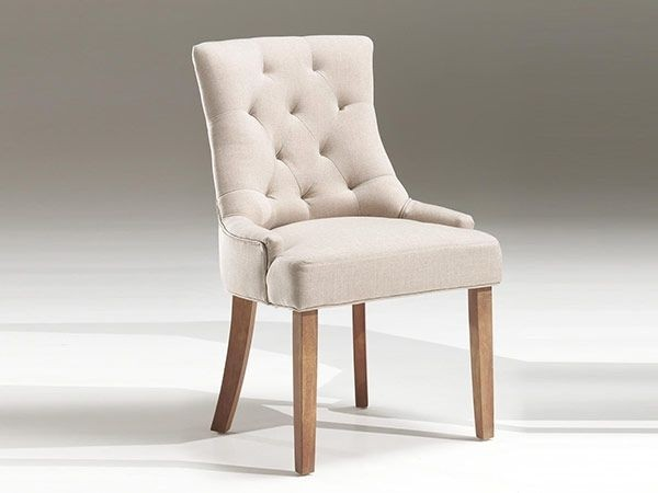 chaise fancy tissu sable et pieds en bois