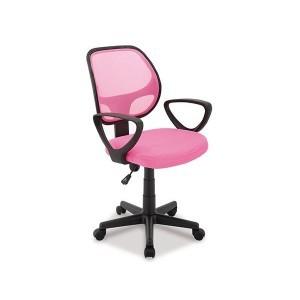 chaise de bureau girly tissu rose et maille rose