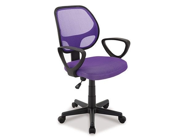 Chaise de bureau colorée de tissu mauve et maille mauve