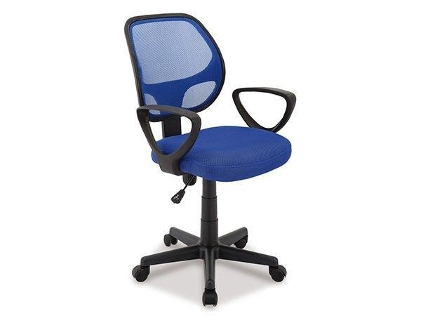 Chaise de bureau pas cher tissu et maille bleu