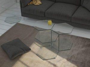 Bout de canapé verre clair courbé à chaud