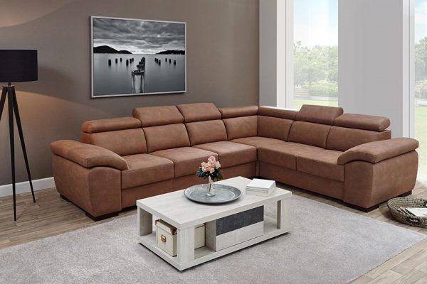 Canapé d'angle 6 places avec tissu luxor cognac