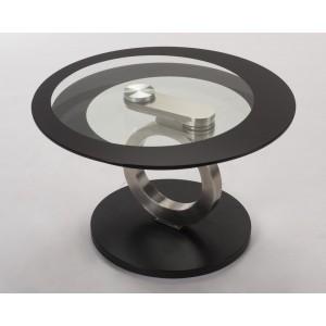 Table de salon avec pied inox et plateau en verre