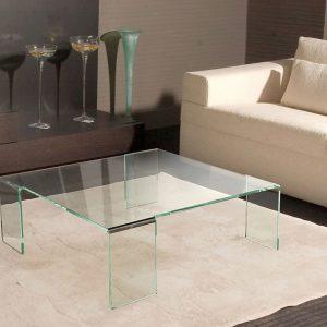 Table basse verre cristallin courbé à chaud