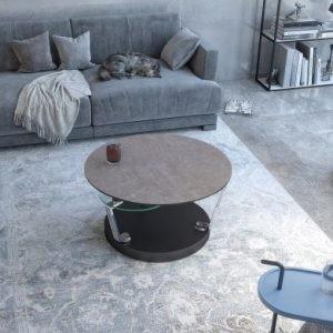 Table basse ronde en céramique argile socle en acier
