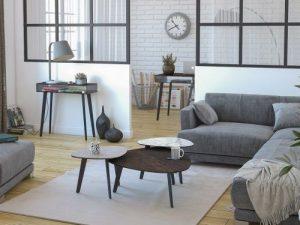 Tables basse galet avec 3 finitions marbre, argile et céramique acier