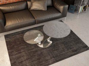 Table de salon en céramique argile de forme ronde avec un pied en acier chromé