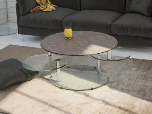 Table ronde en céramique argile