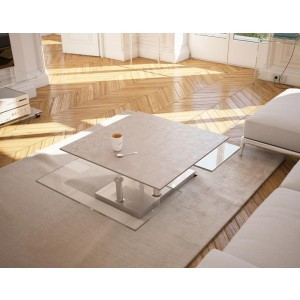 Table de salon carré en céramique argile