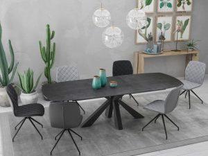 Table en céramique sur verre avec rallonge