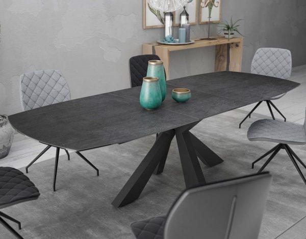 Table en céramique titane et pieds en acier noir