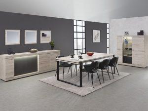 salle à manger complète en mélaminé coloris chêne clair grisé