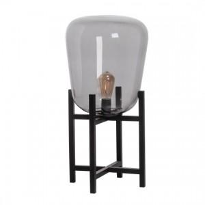 Lampe de table mini verre et métal noir