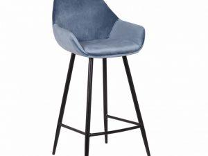 Chaise de bar - velours bleu - Meubles Belgique