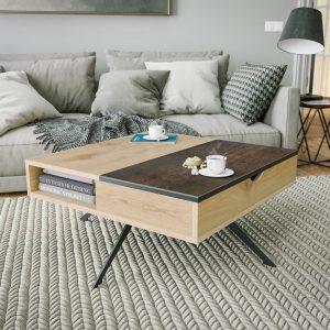 Table basse avec plateau en céramique acier