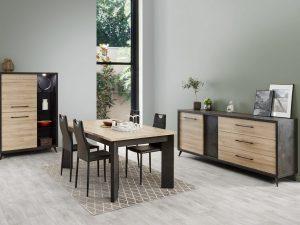salle à manger complète avec un dressoir, une vitrine, une table de 185 cm et 4 chaises
