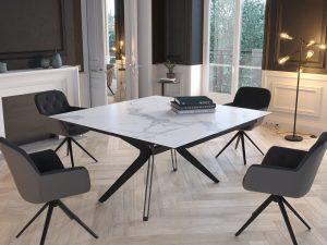 Table repas céramique marbre mat avec rallonge
