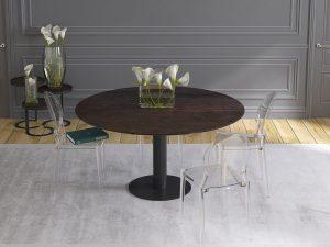 Grande table ronde en céramique acier et pied en acier laqué noir mat
