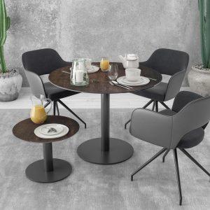 Table ronde en céramique acier d'un diamètre de 1 mètre