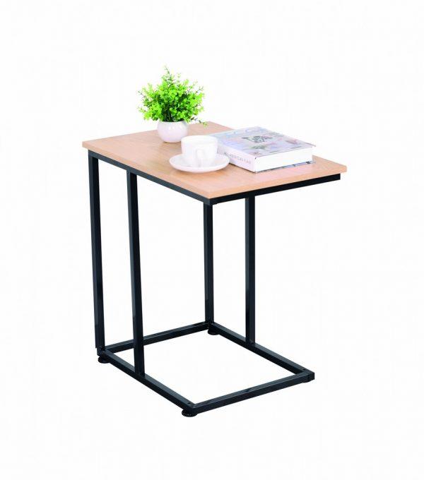 Table gigogne métal noir et décor sonoma
