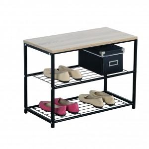 Porte chaussures métal noir et plateau en bois couleur naturel