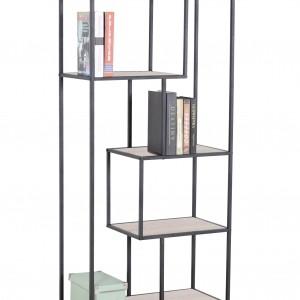 Etagère de rangement métal et bois à 4 niveaux