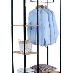 Penderie et étagères de rangement de vêtements en métal noir et décor sonoma