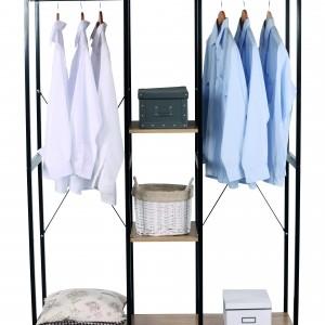 Penderie pour le rangement des vêtements en métal noir et bois couleur naturel