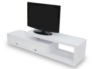 Meuble TV pour le salon couleur blanc laque
