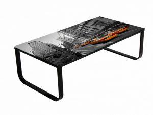 Table basse en verre de sécurité décoré new-york